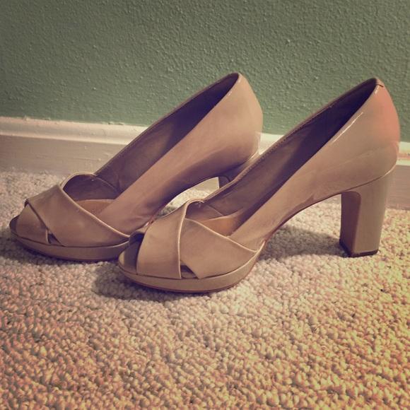 61f4b3d0adb Clarks Shoes - Clark s Nude Peep-Toe Heels